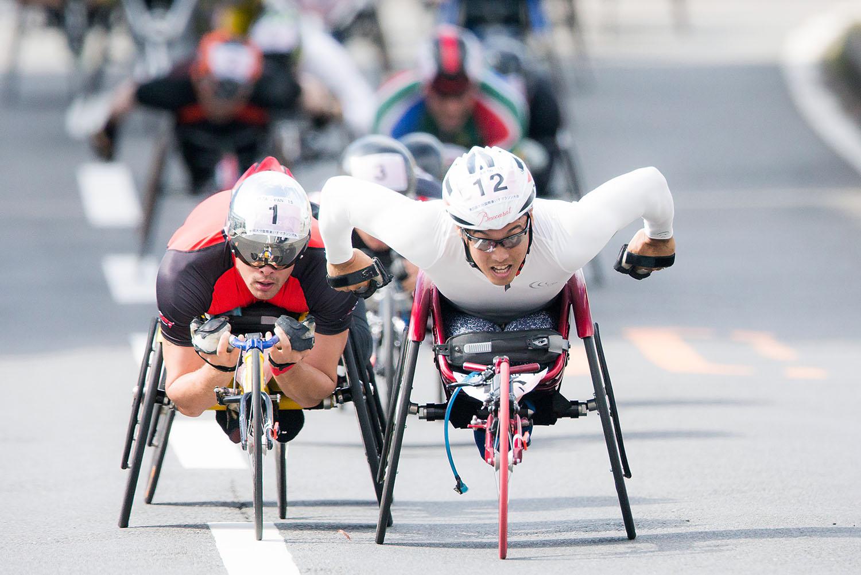 昨年11月に開催された大分国際車いすマラソンで日本人3位に入った西田宗城(撮影:越智貴雄)