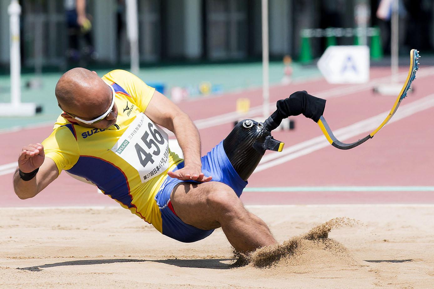 5月の日本パラ選手権で6m56の世界新記録を樹立した山本(撮影:越智貴雄)
