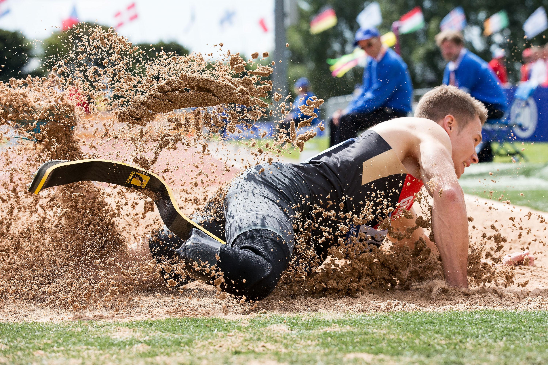 2014年8月、パラ陸上ヨーロッパ選手権に出るも砂場の長さが足りず遠慮がちな跳躍に終わった。それでもレームだけが突出した記録だった(撮影:越智貴雄)