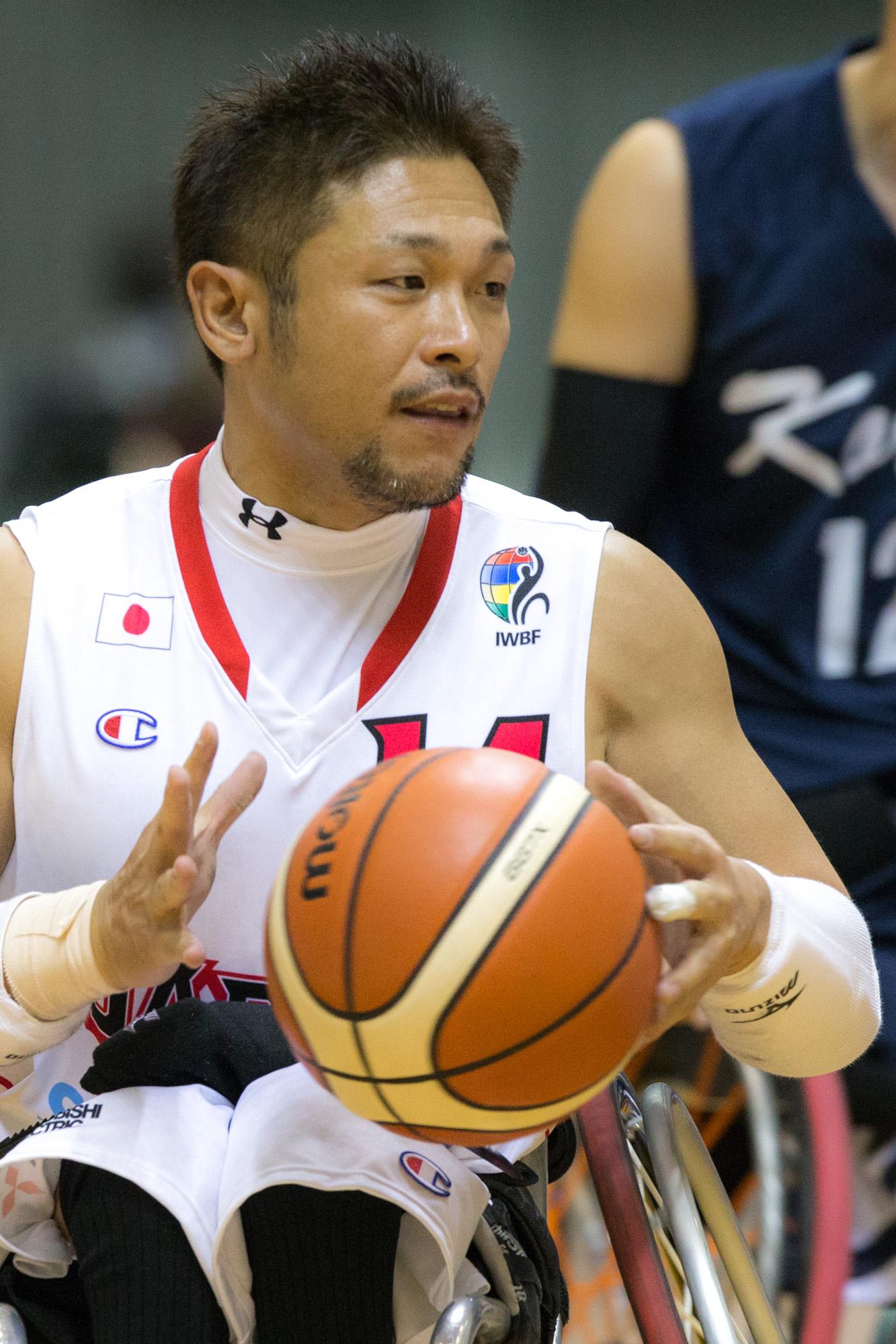 日本車いすバスケ男子チームとしては、史上最年長でのパラ初出場となる石川(撮影:越智貴雄)