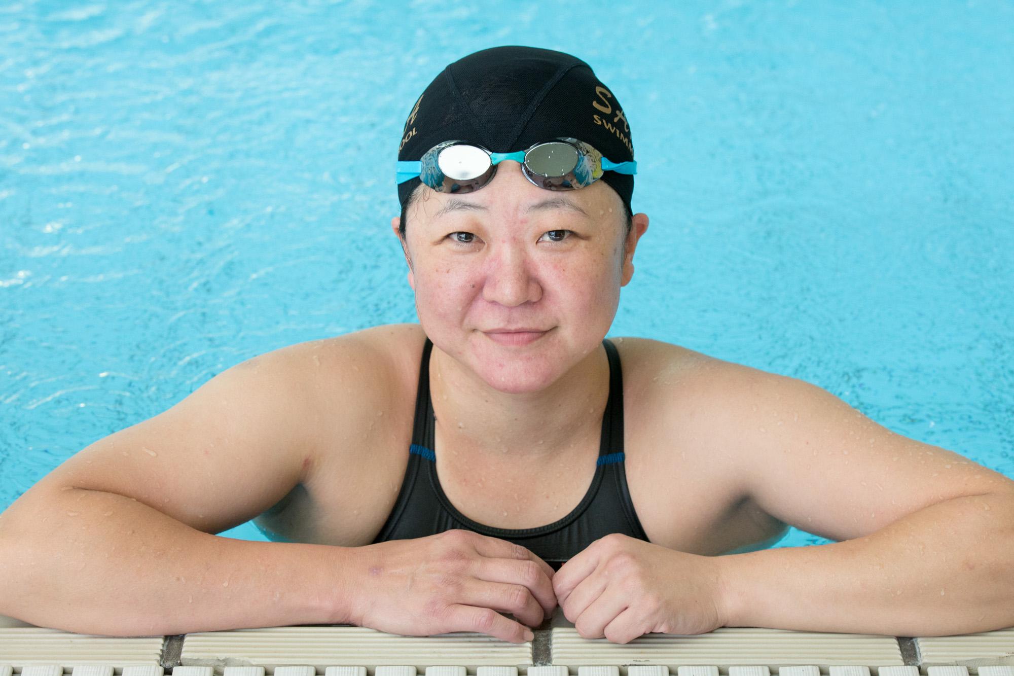 競技復帰前も生活の一部として泳ぎ続けていた。写真は2014年9月(撮影:越智貴雄)