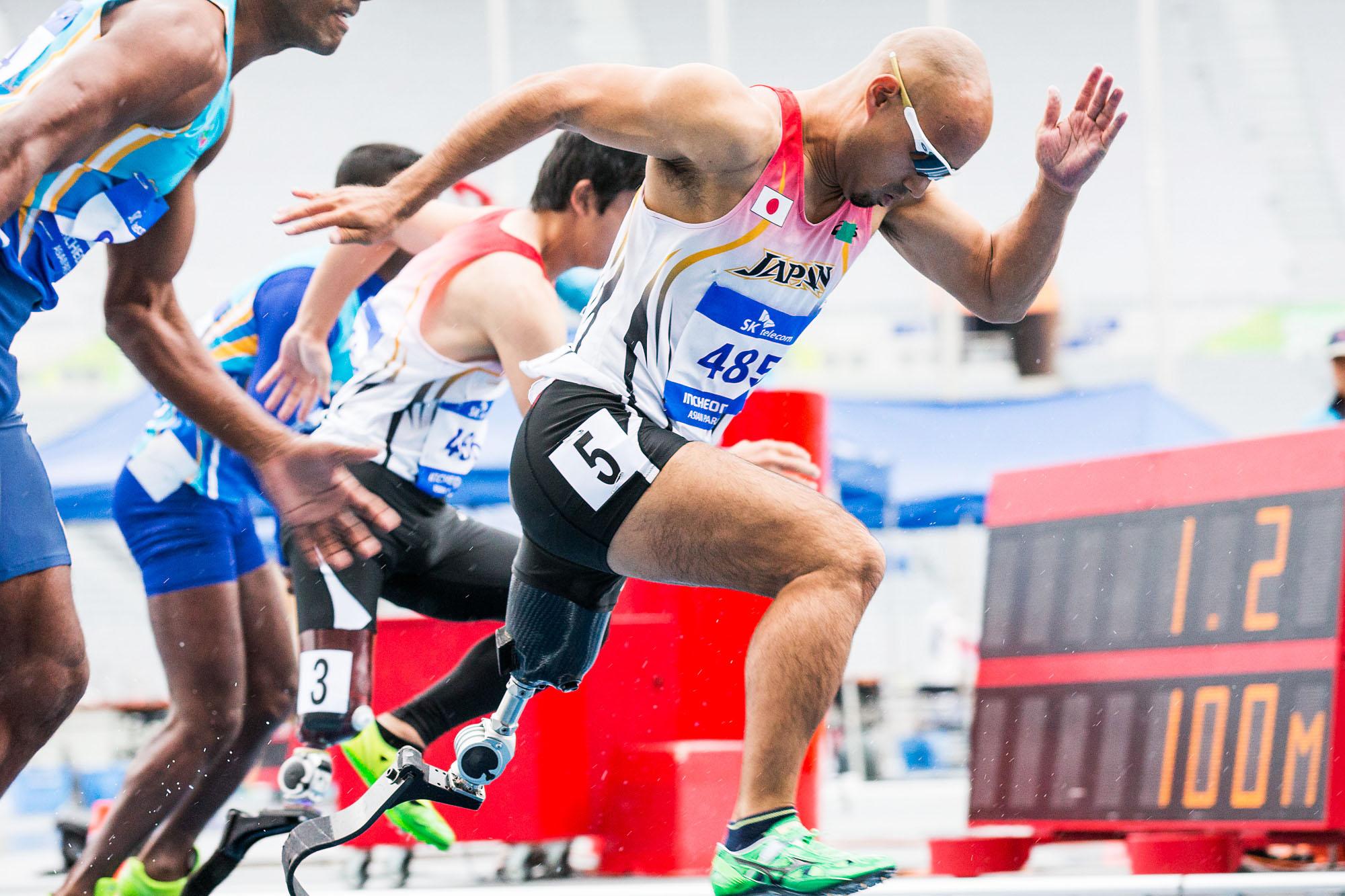 2014アジアパラゲームズ100m(T42)に出場しメダルを獲得した山本。リオでは短距離での活躍にも期待だ。(撮影:越智貴雄)